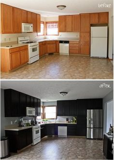 Gel Stain Kitchen Cabinet Makeover - Houzz......dude! such a huge transformation for the buck!
