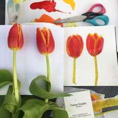 Tracey English - UK based illustrator and surface pattern designer. Open to licensing projects and commissions for global clients. Surface Pattern Design, Tulips, My Books, Collage, English, Illustration, Projects, Crafts, Painting