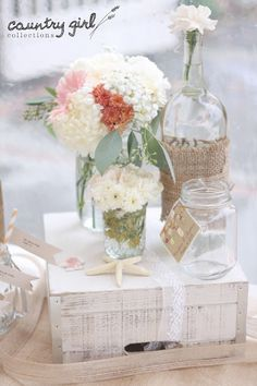 Rustic Beach Country Wedding Décor by Country Girl Collections- Wooden box, Twine Wine Bottle, Mason Jar and Blush Pink Floral Arrangements