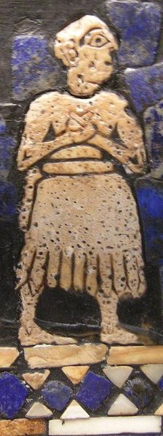 A Sumerian with his hands folded in prayer. He wears the traditional Sumerian skirt. Detail from the Standard of Ur.