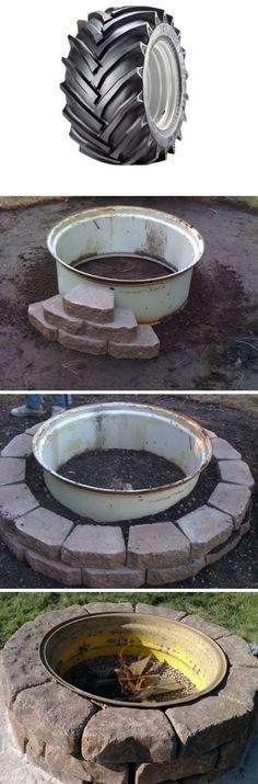 Tractor Wheel Fire Pit Gotta look on Craigslist for a wheel!!