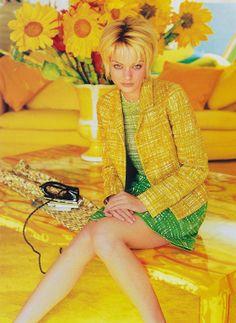 "Citrus!!!     ""The Indiscreet Charm of Prada"", ELLE US, March 1996 Photographer : Gilles Bensimon Model : Farrah Summerford"