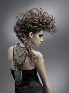 Runway model hair; curled and teased Mohawk