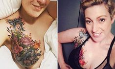 Alex Habbal, from Sydney, had her nipple removed during surgery on a lump in her breast. But instead of having plastic surgery to create a new nipple, she chose to have her breast decoratively tattooed. Cancer Survivor Tattoo, Breast Cancer Tattoos, Breast Cancer Survivor, Tattoo Over Scar, Herb Tattoo, Stretch Mark Tattoo, Mastectomy Tattoo, Badass Women, Woman
