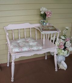 Shabby Chic Gossip Bench Telephone Stand Gossip by Fannypippin,