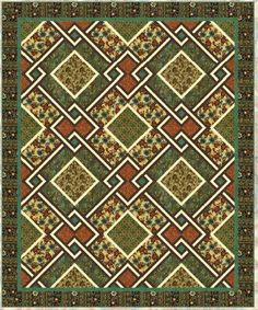 = free pattern = Interlocking squares quilt pattern by Larene Smith for Hoffman Fabrics.  Quilt Inspiration: Free pattern day: St. Patrick's Day