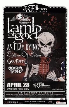 Concert poster for Lamb of God, As I Lay Dying, Children of Bodom, and Municipal Waste at The Fillmore in Denver, CO in 2009. 11x17 on card stock.