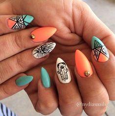 Tribal Inspired Stiletto Nails.