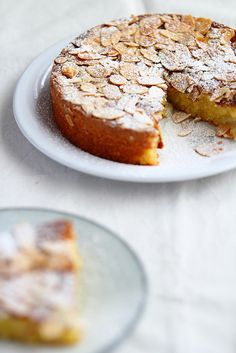 almond pear cake - 2-3 ripe pears (conference or green william) 75g (1/2 cup) self-raising flour 75g (1/2 cup) ground almonds 150g ( 1 1/2 stick) unsalted butter 35g (1/2 cup) flaked almonds 125g (1/2 cup + 2 tbsp) caster sugar few drops of almond extract (optional) juice of 1 lemon pinch of salt 2 eggs Bake at 350 for 30 minutes