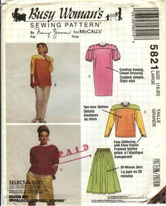 McCall's 5821 Misses' Dress or Top, Skirt, Pants and Shorts
