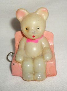 Vintage Celluloid Bear on Chair Tape Measure Occupied Japan Royal Figure