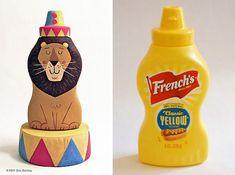 León de Circo con envase de mostaza. Gran idea.