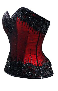 Va Va Voom! This corset is the epitome of luxury. The gorgeous detailed hand embroidery is done with seed beads and sequins over lace, net and polyester dupion for a layered glitz and glam look. The s