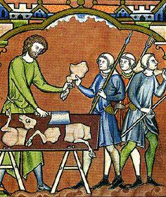 Carniceria. Miniatura de la Biblia Maciejowski c. 1250.