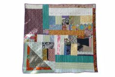 Pauline Boyd, HECHO QUILT, Counterpane, 42 in x 42 in. Made from cotton and linen sourced in the USA, Laos and Cambodia. Featuring Hmong embroidery, Mexican Huipil belonging to Vicki Rank, Indonesian batik and backed with a Cambodian printed sarong. Scrappy Quilts, Mini Quilts, Antique Quilts, Stitches, Art Clothing, Quilt Art, Embroidery, Antiques, Feel Better