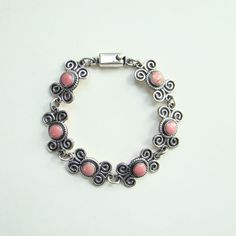 Taxco Mexico Sterling Silver Coral Link Bracelet TD 102 Vintage Mexican Jewelry by redroselady on Etsy
