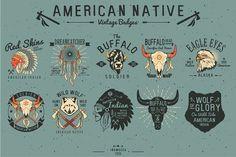 Native American Vintage Badges by inumocca on Creative Market Vintage Logos, Vintage Typography, Vintage Designs, Ideas Vintage, Dream Catcher Native American, Native American Indians, Design Logo, Design Art, Graphic Design