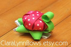 Ribbon Turtle Sculpture Hair Bow Clip by ClaraLynnBows on Etsy, $3.00
