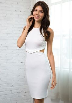 Turn heads in this elegant white halter neck dress at a party or bar. Buy this eye-catching frock at Lookbook Store and enjoy worldwide shipping for free. #lookbookstore #FashionClothing