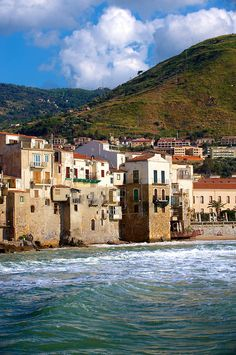 Medieval houses and seafront of old Cefalu, Sicily