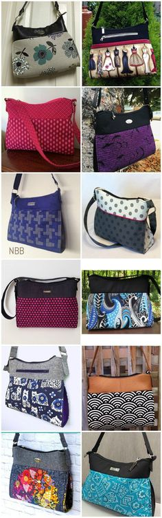 Gabby purse sewing pattern.  The perfect everyday main handbag sewing pattern.  Look at all these great examples for inspiration.  Looks great in faux leather, home decor and regular cottons too.  Has an elegant and simple designer purse look.
