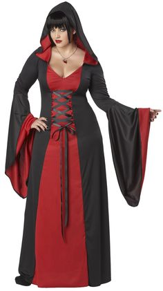 California Costumes Plus-Size Deluxe Hooded Robe A robe with a dark passion for purple. The deluxe hooded robe features robe with flared sleeves, attached hood, and lace up ties. Necklace and shoes not included. Plus Size Halloween, Halloween Costumes, Gothic Halloween, Holiday Costumes, Women Halloween, Halloween Projects, Spirit Halloween, Halloween Decorations, Carnival