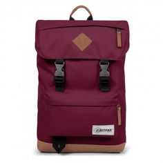 343e13fd7bc Eastpak 'Rowlo' men's retro laptop backpack in black with tan leather trims.