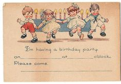 BIRTHDAY INVITATION 1930's