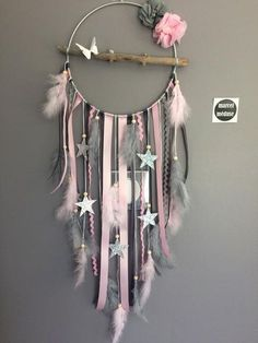 Dream catcher in driftwood and stars in gray and, . - Dream catcher in driftwood and stars in gray and, Gift - Living Room Decor Cozy, Living Room Grey, Diy Room Decor, Home Crafts, Diy And Crafts, Dream Catcher Decor, Diy Dream Catcher For Kids, Making Dream Catchers, Lace Dream Catchers