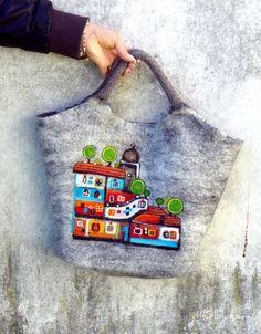 Felt Wool Tote Hundertwasserhaus  inspired,One of kind Felted handbag,  handmade, OOAK Ready to Ship