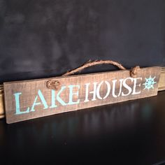 Lake house reclaimed pallet wood sign with rope handle by SeaCityDesigns on Etsy https://www.etsy.com/listing/199169980/lake-house-reclaimed-pallet-wood-sign