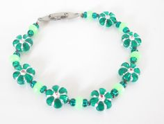 Green Flower Bracelet , Bright Green Jewelry, Luck of the Irish Bracelet, Green Flowers