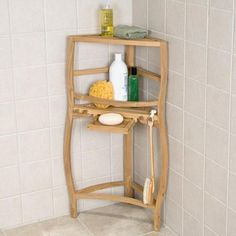 teak curved corner shower shelf with pull out soap dish
