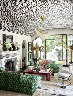 To celebrate their anniversary, ELLE DECOR (October issue) features this stunning room designed by the one and only Martyn Lawrence Bullard, photographed by Douglas Friedman ( ***The barrel ceiling treatment is BEYOND! Living Room Decor, Living Spaces, Living Rooms, Decor Room, Spanish Villas, Dome Ceiling, Accent Ceiling, Barrel Ceiling, White Trellis