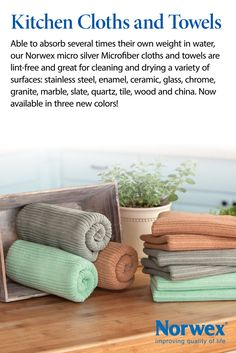 Norwex Kitchen Cloths and Towels Talk about powerful! Able to absorb several times their own weight in water, our Norwex Microfiber Cloths and Towels are lint-free and great for cleaning and drying a variety of surfaces: stainless steel, enamel, ceramic, glass, chrome, granite, marble, slate, quartz, tile, wood and china. Now available in three new colors!