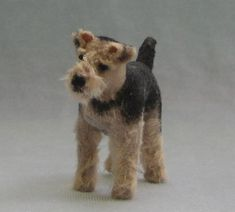 welsh terrier miniature soft sculpture dog by Marie Evans 1:12 scale