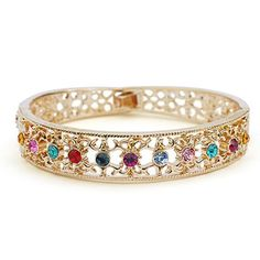 18K gold plated multi color rhinestone hollow out bangle bracelet-BGG091 >>> Check out this great product.