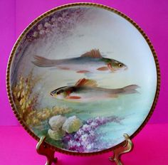 "Antique Limoges France 95/8"" Hand Painted Fish Plate Signed by Artist Dubois"