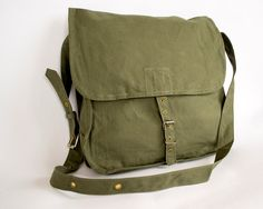 Vintage Military Bag Army Bag Canvas Messenger door ARoadThroughTime