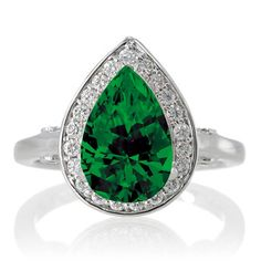 1.5 Carat Pear Cut Halo Emerald Engagement Ring on 10k White Gold ...