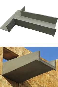 Fiberspan Concrete Elements - Canales (Roof Scuppers), Vigas and Headers Brick Architecture, Architecture Details, Roof Drain, Roof Structure, Modern Farmhouse Exterior, Flat Roof, Kit Homes, Modern Buildings, Metal Roof