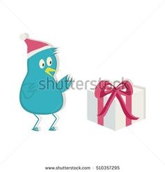 Blue bird in Santa hat and present. Vector illustration.