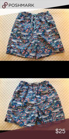 19e5c747a8 Boys Vineyard Vines Chappy Swim Trunks Navy, aqua, pink swim trunks with  fish pattern