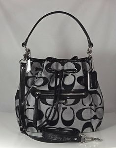 Coach Daisy Outline Signature Metallic Drawstring Shoulder Bag 120