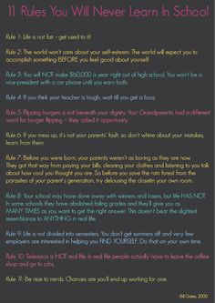 11 rules your children will never learn in school... by Bill Gates