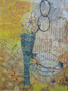 """Gold Light by Eva Isaksen - collage on canvas 48"""" x 36"""" 2010"""