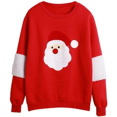 Womens Long Sleeve Christmas Santa Printed Pullover Sweatshirt Red ($26) ❤ liked on Polyvore featuring tops, sweaters, red, long sleeve tops, long sleeve pullover, pullover tops, red top and christmas tops
