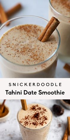 Snickerdoodle Tahini Date Smoothie - — eatable arts. - Creamy snickerdoodle tahini date smoothie made in just 10 minutes with no banana! This delicious, v - Vegan Smoothies, Smoothie Drinks, Smoothie Bowl, Protein Powder Smoothies, Date Smoothie Recipes, Whole 30 Smoothies, Cacao Smoothie, Lunch Smoothie, Vegetable Smoothies