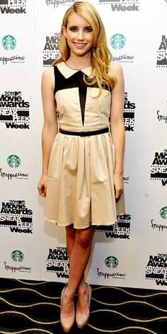 Emma Roberts in a nude and black ASOS dress paired with patent leather Brian Atwood pumps and C. Greene studs