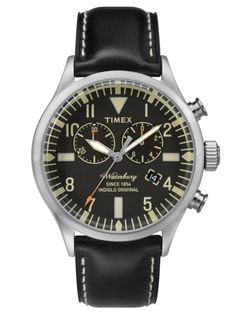 Gave Timex Waterbury Chrono - Horloge - Leer - Zwart - 44 mm Sport Watches, Watches For Men, Herren Chronograph, Timex Watches, Affordable Watches, Watch Model, Watch Brands, Vintage Watches, Knights